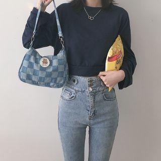 Checker Print Denim Shoulder Bag Denim Blue - One Size