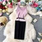 Color-block Sleeveless Knit Dress