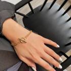 Geometric Alloy Bracelet Gold - One Size