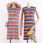 Lightweight Sleeveless Striped Knit Dress