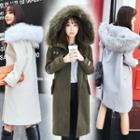 Wool Blend Furry-trim Hooded Buttoned Coat