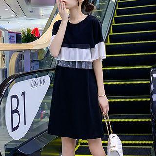 Chiffon Panel Short-sleeve Dress