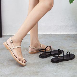 Ankle Strap Toe-loop Flat Sandals