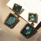 Retro Rectangle Dangle Earring 1 Pair - Emerald Green - One Size