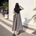Gingham Maxi A-line Jumper Skirt Plaid - Black & White - One Size