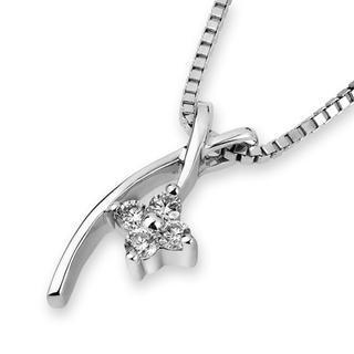 18k White Gold Four Stones Round Diamonds Pendant (free 925 Silver Box Chain)