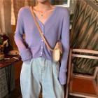 Striped Knit Short-sleeve Knit Top