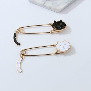 Alloy Cat Safety Pin Brooch