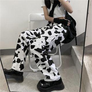 Cow Print Wide Leg Pants