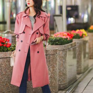 Flap Belted Double-breasted Trench Coat