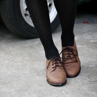 Faux Leather Oxford Flats