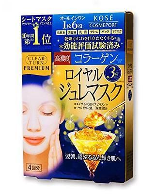Kose - Clear Turn Premium Royal Gelee Hyaluronic Acid Mask 4 Pcs