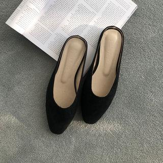 Round-toe Faux-suede Mules