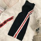 Sleeveless Buttoned Sheath Knit Dress