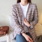 Collarless Tweed Jacket Blue - One Size