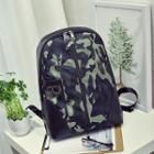 Camouflage Panel Faux Leather Backpack