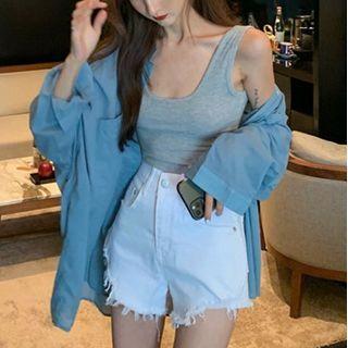 Plain Shirt / Tank Top / High-waist Denim Shorts