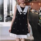 Pleated Trim Faux Pearl Sleeveless Dress Black - One Size