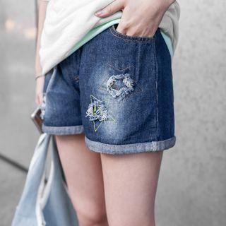 Star Embroidered Distressed Washed Denim Shorts