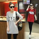 Letter Long-sleeve Long T-shirt