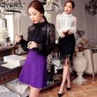 Frilled Lace Panel Blouse