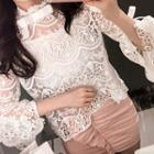 Set: Bell-sleeve Lace Blouse + Camisole Top