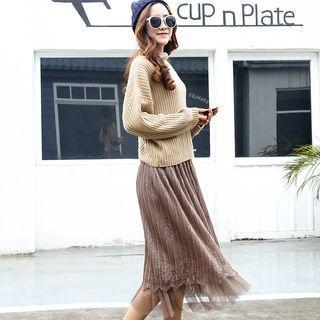 Pleated Lace Overlay Midi Skirt