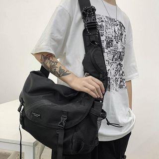 Plain Nylon Snap Buckle Messenger Bag Black - One Size