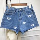Distressed Printed Denim Shorts