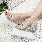 Beaded Wedge Platform Sandals