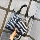 Inset Striped Pouch Transparent Tote