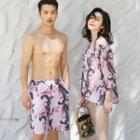 Couple Matching Print Swim Shorts / Cover-up / Bikini Top / Set