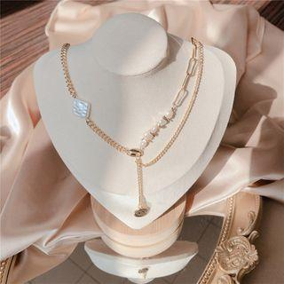 Freshwater Pearl Y Necklace Gold - One Size