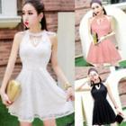 Sleeveless Cutout Lace A-line Dress
