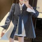 Striped Blazer / Plain Blouse