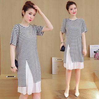 Set: Striped Short Sleeve T-shirt Dress + Midi Pleated Skirt