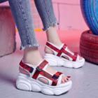 Hook & Loop Platform Wedge Sandals