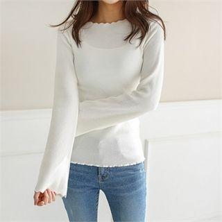 Scallop-trim Ribbed Top