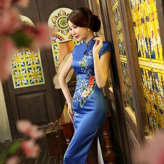 Floral Short Sleeve Qipao