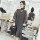 Set: Beaded Mock Neck Long Sleeve Mesh Top + V-neck Sleeveless Dress