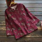Traditional Chinese Long-sleeve Floral Print Top