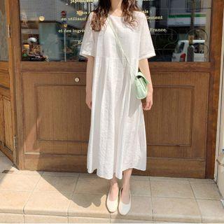 Elbow Sleeve Plain Midi A-line Dress