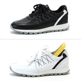 Genuine Leather Contrast-trim Sneakers