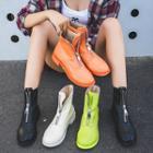Zip Faux Leather Low Heel Short Boots