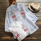 3/4-sleeve Striped Embroidery Blouse