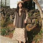 Set: Long-sleeve Floral Print Midi A-line Dress + V-neck Knit Vest