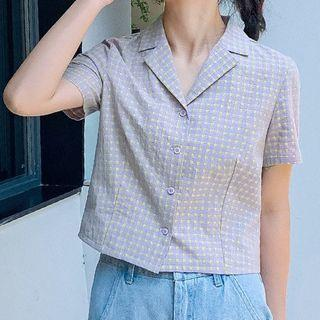 Short-sleeve Gingham Shorts