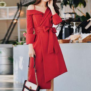 One Shoulder Tie Waist Long-sleeve Dress