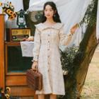Plaid Frill Trim Long-sleeve Dress