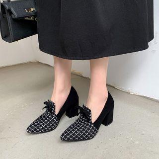 Block-heel Houndstooth Loafers